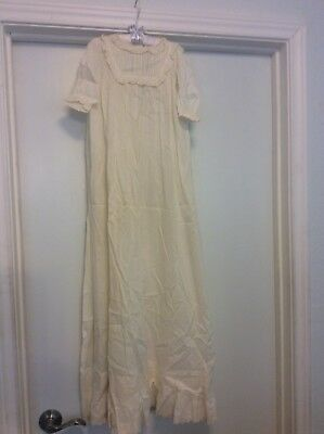 VINTAGE BABY CHRISTENING LONG DRESS GOWN CREAM SILK LACE BABY DOLL Antique
