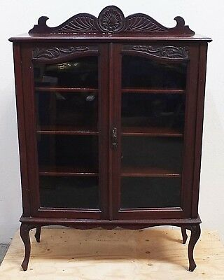 Late 19th/Early 20th C. Antique Carved Mahogany Closed Bookcase Display (262)