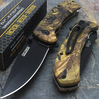 "8"" TAC FORCE EDC FALL CAMO SPRING ASSISTED TACTICAL POCKET KNIFE Blade Assist"