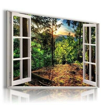 AUTUMN FOREST MOUNTAINS 3D Window View Canvas Wall Art Picture W574 MATAGA