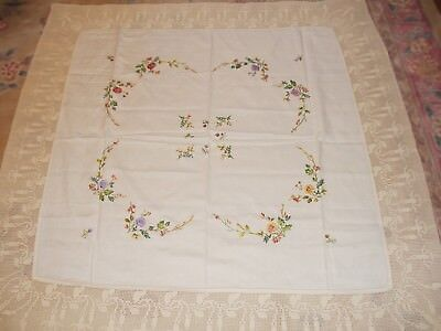 """Beautiful Large Linen And Lace Vintage Hand Embroidered Tablecloth 66"""" x 62"""""""