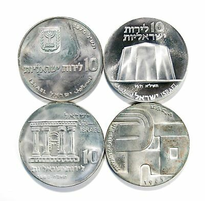 Lot of 4 1968 - 1971 Israel 10 Lirot Silver Coins Unc Uncirculated #136039 X R