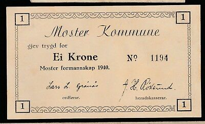 1 krone From Norway Moster Kommune 1940 Unc