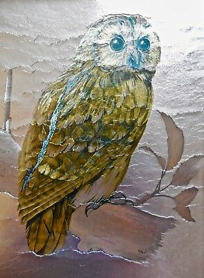 Cool 1970's Vintage Owl Picture Foil Art--Owl Collectible--9X11-Nice Wood Frame