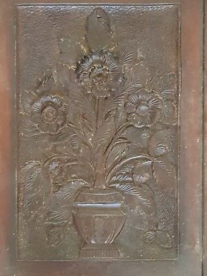 Large Black Forest 3D Flower Pot Picture Relief Carving 1850s-1899 Antique