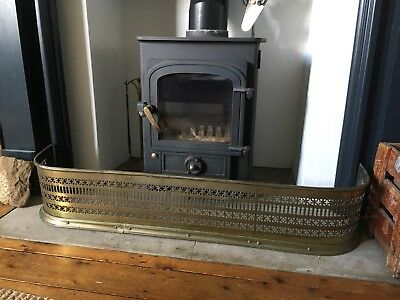 Vintage Antique Brass Fire Hearth Fender Guard Surround Edwardian Victorian