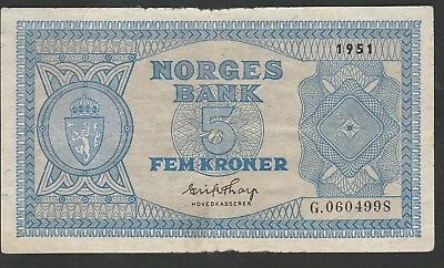 5 Krone From Norway 1951