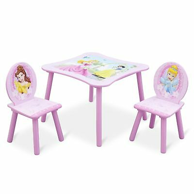 Delta Children Disney Princess 3 Piece Wood Toddler Table and Chair Set, Pink