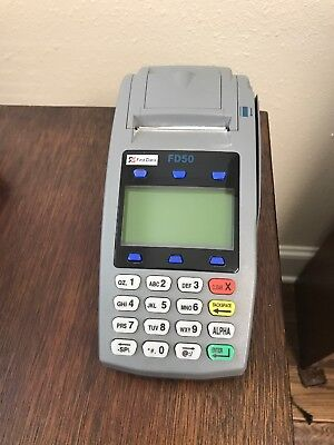 First Data FD50EMV NFC Dial/IP Credit Card Machine with 7 rolls of thermal paper