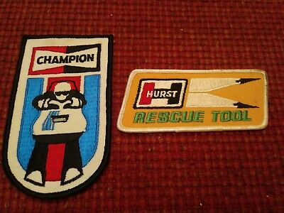 Vintage Champion Spark Plug Patch Snowmobile Racing and Hurst Rescue Tool Patch
