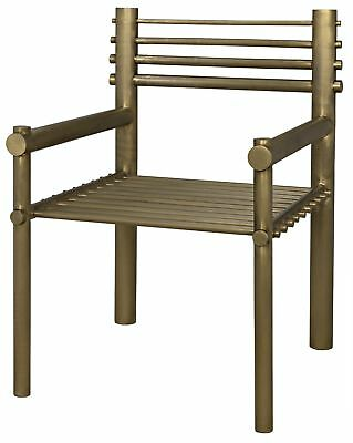 """34"""" Set of Two Occasional Chair Metal Smooth Antique Brass Finish Industrial"""