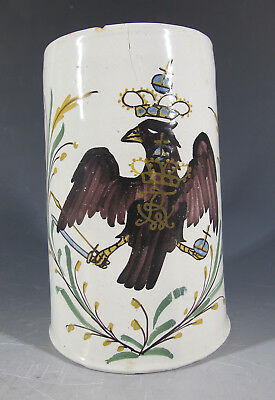 Antique 18th / 19th C Crested Eagle German Faience Hand Painted Tankard Mug  yqz