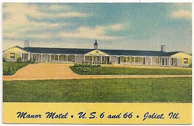 Manor Motel on Route 66 in Joliet IL Advertising Business Card