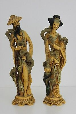 Vintage Pair Composite Resin Hand Crafted Chinese  Tall Figurines 40cm Tall  3kg