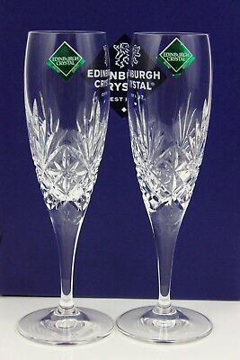 Edinburgh Crystal Duet Cut Pair Fluted Champagne Glasses 20cm Boxed & Labelled