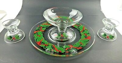 Vintage Avon Holiday Hostess Serving Plate Candle Holders Candy Dish Holly w/Box