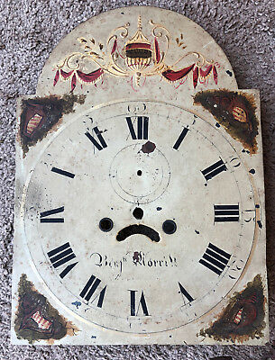 ANTIQUE 1800 hand painted Metal Clock Face Grandfather clock vintage Patina
