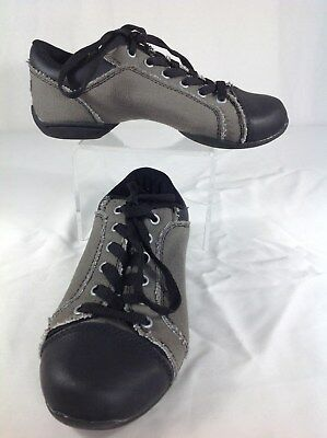 Revolutions Dancewear Dance Shoes size 5.5 kids reinforced Jazz black and gray