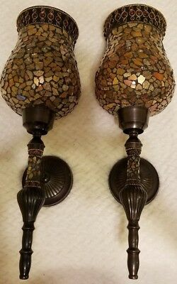 (2) Two Matching Candle Wall Sconces gold tones Mosaic Glass
