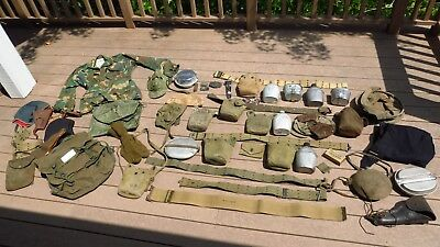 Large Lot of Vintage Army Military Surplus Field Gear Equipment
