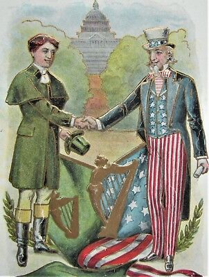 "UNCLE SAM Irish American FLAGS ""Brothers Still"" Embossed Lounsbury Postcard Gold"