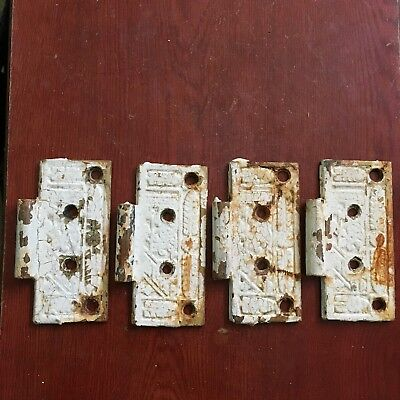 Antique Lot Of 4 Victorian Hinge Door Replacements  Cast Iron Brass Plated