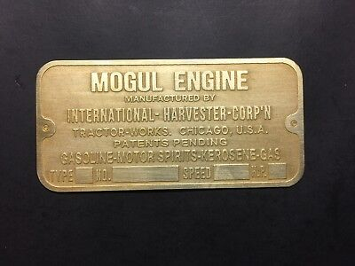 NEW IHC International Harvester Mogul Brass Data Tag Antique Hit Miss Gas Engine