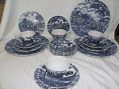 MYOTT ~ Royal Mail Blue Fine Staffordshire Ware 19 Pc. Dinnerware Set England