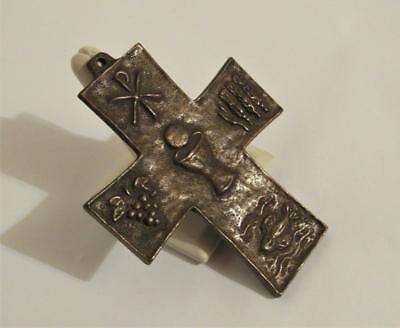 "Early 1900`s Solid Bronze Reliquary Cross Byzantine Style 4"" inch tall"