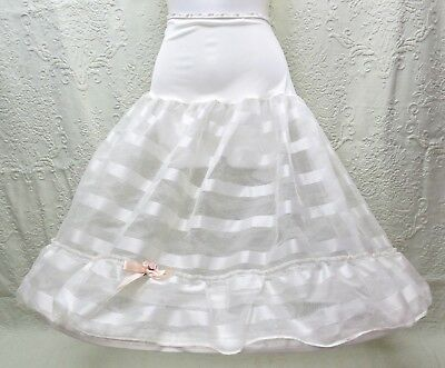 Vintage 1950's Satin-And-Net Ribbon-Weave Bouffant Petticoat W/removable Hoop