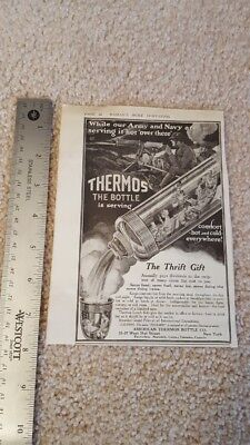 Antique Original 1918 Thermos Army & Navy World War I Ad The Thrift Gift