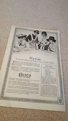 Antique Original 1918 Crisco War Cake Ad No Wheat Eggs Butter Milk WWI