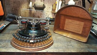 Antique Hammond Multiplex Typewriter Curved Keybed Oak Cover-Project