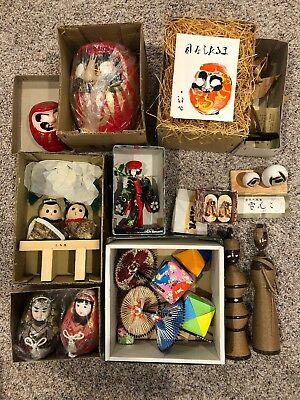 Lot Of Vintage Japanese Wooden Dolls And Other Items