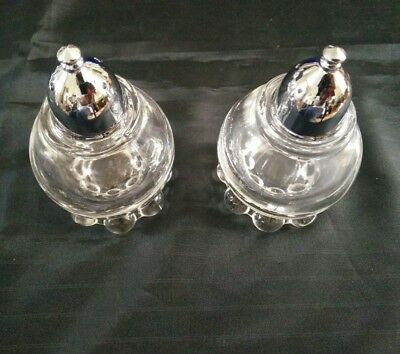 Vintage Candlewick Pattern GLASS SALT AND PEPPER SHAKERS by Imperial