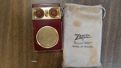 Vintage Zenith ROYAL 500 DELUXE Transistor Radio in Rare Linen Pouch Owl Eyes