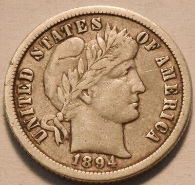 1894 O Barber Dime, Middle to Higher Grade Bold LIBERTY, Scarce Date Silver 10C