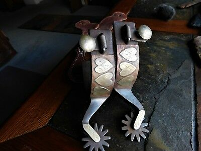 Crockett silver & copper mounted and marked spurs/ NR