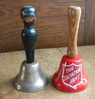 "2 Vtg Bell/s Black Americana & The Salvation Army 4"" dinner bell"