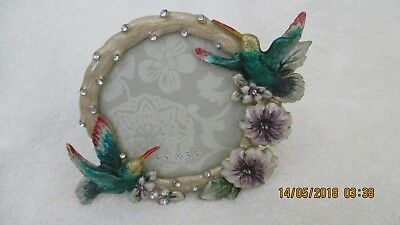 Beautiful Enameled Metal Hummingbird Picture Frame 3.5 x 3.5