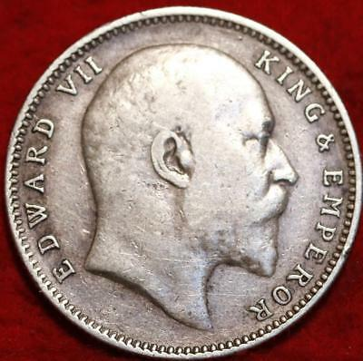 1906 India 1 Rupee Silver Foreign Coin