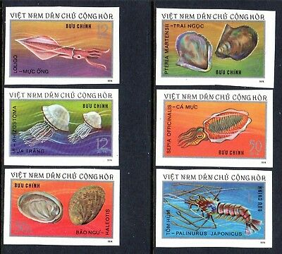 1974 NORTH VIETNAM MARINE LIFE imperf SGN793-798 mint no gum as issued