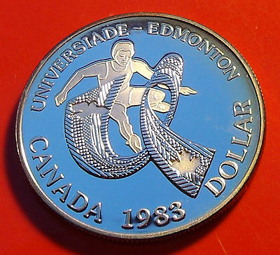 RARE MIRRORED GEM 1983 CANADA SILVER PROOF DOLLAR Lovely edge toning,