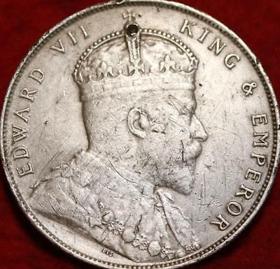 1907 Straits Settlements One Dollar Silver Foreign Coin