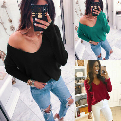 Womens Oversized Off the Shoulder Chunky Knit Jumper Ladies V Neck Top Pullover