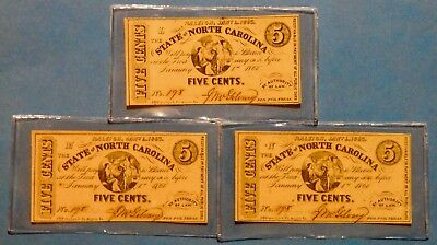 3 1863 N Carolina Notes Five Cents All Have Same Serial # Position Plate L, M, N