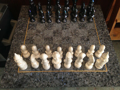 Chess Board Coffee Table made of Granite with cast Porcelain pieces as New Cond.