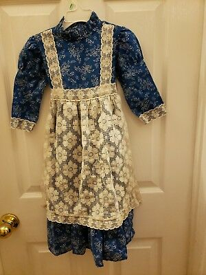 VINTAGE Blue Floral Print With Cream Colored FLORAL Lace Apron Front With Bow In