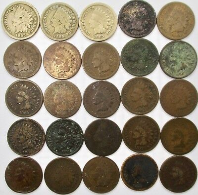 1864 - 1909 Indian Head Cent Lot Collection 50 Coins in Total Some are XF and AU
