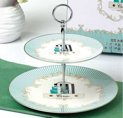 Bone China 2-Tier Vintage Ceramic Dishes Platters Cake Stands for Tea Wedding